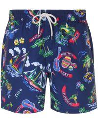 Polo Ralph Lauren All-over Polo Print Blue Swim Shorts