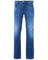 DIESEL Waykee Straight Fit Jeans - Washed Mid Blue