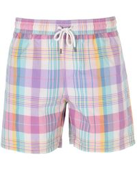 Polo Ralph Lauren - Pink Madras Traveller Swim Short - Lyst