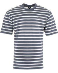 Edwin Quarter Stripe T-shirt - Navy & Frost Gray - Blue