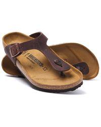 Birkenstock Brown Leather Gizeh Sandals