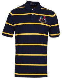 Polo Ralph Lauren Navy & Yellow Stripe Cross Flags Polo Shirt - Blue