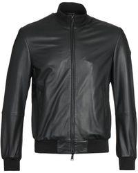 Emporio Armani Caban Black Leather Jacket