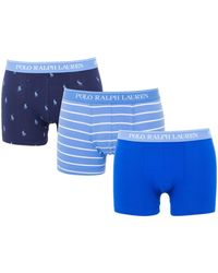 Polo Ralph Lauren 3 Pack Classic Trunk Boxers - Blue, Navy & Stripe
