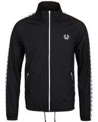 Fred Perry - Navy Wreath Taped Zip Through Sports Jacket - Lyst