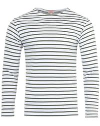 Armor Lux Heritage Breton Stripe Long Sleeve Shirt - White