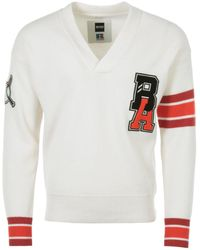 BOSS x Russell Athletic Exclusive Logo Wool Varsity Sweater - White