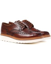 GRENSON | Archie V Hand Painted Tan Leather Brogues | Lyst