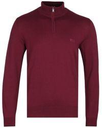 BOSS by Hugo Boss Padro-l Burgundy Zip Neck Sweater - Red