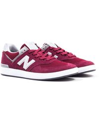 New Balance - All Coasts 574 Burgundy With Grey Suede Trainers - Lyst