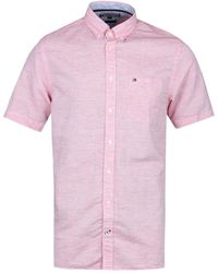 Tommy Hilfiger - Engineered Short Sleeve Pink Cotton / Linen Shirt - Lyst