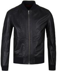 HUGO Lachlan Black Nappa Leather Jacket