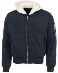 True Religion Sherpa Hood Bomber Jacket - Blue