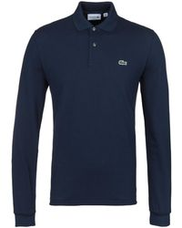 Lacoste - L1312 Navy Classic Fit Long Sleeved Pique Polo Shirt - Lyst