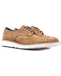 Tricker's Tricker's Bourton Peanut Kudu Reverse Suede Derby Brogue Shoes - Brown