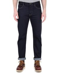Emporio Armani J21 Indigo Denim Tobacco Stitch Regular Fit Jeans - Blue
