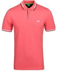BOSS Green | Paul Light Red Twin Tipped Short Sleeve Polo Shirt | Lyst