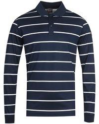 Paul & Shark Stripe Long Sleeve Navy Polo Shirt - Blue
