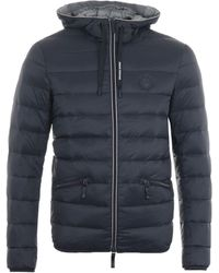 Armani Exchange Puffer Down Hooded Jacket - Navy - Blue