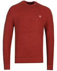 Fred Perry Russet Ribbed Crew Neck Jumper - Red
