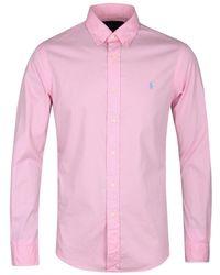 Polo Ralph Lauren - Pink Cotton Twill Long Sleeve Shirt - Lyst