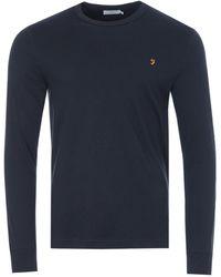 Farah Worthington Organic Cotton Slim Fit Long Sleeve T-shirt - Blue