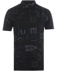 Armani Exchange Square Print Polo Shirt - Black