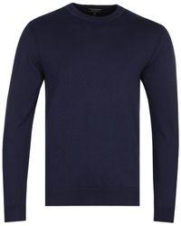 Belstaff Deep Navy Melange Moss Crew Neck Knitted Jumper - Blue
