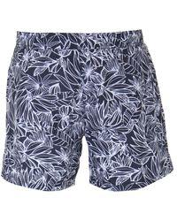 BOSS Bodywear Leaf Print Swim Shorts - Blue