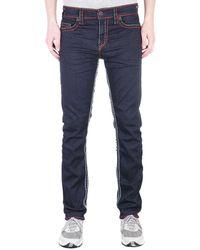True Religion Geno Relaxed Slim No Flap Super T Inglorious Indigo Denim Jeans - Blue