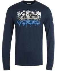 Columbia Outer Bounds Navy Melt Long Sleeve T-shirt - Blue