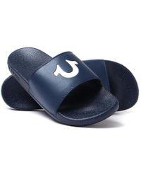 True Religion - Navy Horseshoe Slide Sandals - Lyst