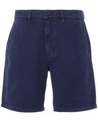 Nudie Jeans Luke Rigid Twill Worker Shorts - Blue