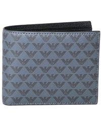 Emporio Armani All-over Eagle Logo Gray Leather Wallet