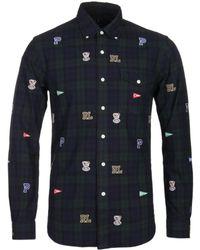 Polo Ralph Lauren Slim Fit Varsity Patch Black Watch Shirt