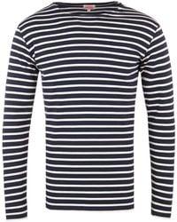 Armor Lux Mariniere Heritage Navy Stripe Long Sleeve T-shirt - Blue