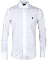 Polo Ralph Lauren Long Sleeve Slim Fit White Poplin Shirt
