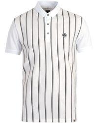 Pretty Green Tierney Stripe Mercerised Cotton White Polo Shirt