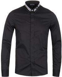 Emporio Armani - Stripe Eagle Collar Black Shirt - Lyst