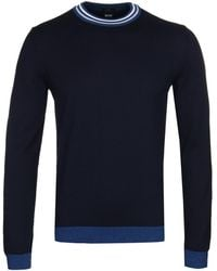 BOSS - Talvino Knitted Navy Cotton Jumper - Lyst