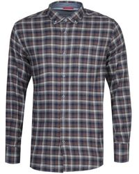 Armor Lux Chemise Navy & Brown Checked Shirt - Blue