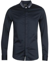 Emporio Armani Camicia Tipped Collar Dark Shirt - Blue