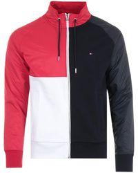 Tommy Hilfiger Colour Block Organic Cotton Zip Sweatshirt - Red, White & Desert Sky - Blue