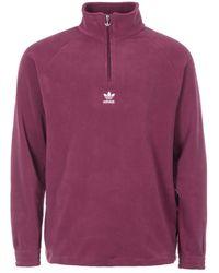 adidas Originals Classics Half Zip Teddy Fleece - Purple