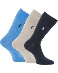 Polo Ralph Lauren 3 Pack Egyptian Cotton Ribbed Socks - Navy, Blue & Grey