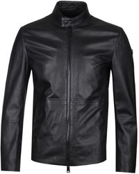 Emporio Armani Biker Black Leather Jacket