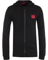 HUGO Daple Zip Red Tab Black Hooded Sweatshirt