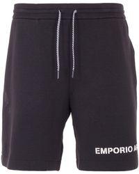 Emporio Armani Logo Bermuda Sweat Shorts - Black