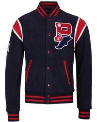Polo Ralph Lauren Navy Teddy Fleece Varsity Jacket - Blue