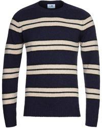 NN07 Nathan 6212 Navy Stripe Wool Jumper - Blue